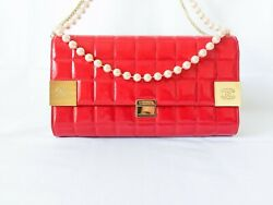 Cc Limited Choco Bar Flap Patent Leather And Pearls Chain Crossbody Bag