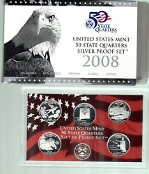 2008 Us Silver Quarter Proof Sets With Box And Certificate