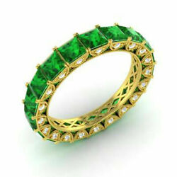 4.40 Carat Real Diamond Green Emerald Bridal Ring Solid 14k Yellow Gold All Size