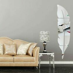 3D DIY Removable Feather Mirror Home Room Decal Vinyl Art Stickers Wall Decors
