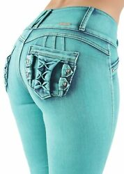 Womenand039s Juniors Colombian Design Butt Lift Push Up Mid Waist Skinny Jeans