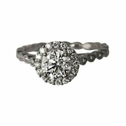 Round Cut 0.85 Ct Real Diamond Engagement Ring 14k Solid White Gold Size 6 7 8 9