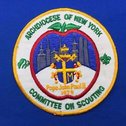 Boy Scout 1979 Pope John Paul Ii Archdiocese Of Ny Committee Jacket Patch