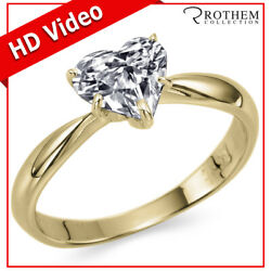 Heart Shaped Diamond Engagement Ring 1.00 Ct Solitaire Yellow Gold Si2 06152585