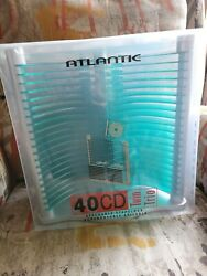 Atlantic 40 Cd Rack Futuristic Teal And Silver Dvd Pc Game Tower Storage Holder