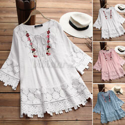 US STOCK Women Vintage Floral Embroidered Shirt Blouse 3 4 Sleeve Loose Tops Tee