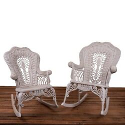 Heywood Wakefield Wicker His And Hers Rocking Chairs, C.1897-1921
