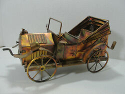 Vintage 1970's Copper Tin Metal Welded Antique Car W/ Wind-up Music Box