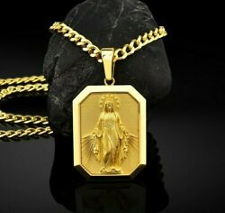 Holy Virgin Mother Mary Miraculous 10k 14k 18k Gold Pendant Gift Jewelry
