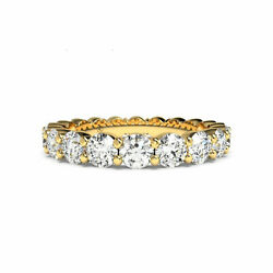 1.80 Ct Round Cut Eternity Band Solid 14kt Yellow Gold Engagement Diamond Rings