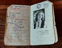 State Of Israel Id Document 1949 Beautiful Girl Female Photo Jewish Stamps Card