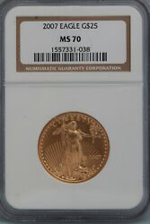 2007 American Eagle G25 1/2 Ounce .9999 Gold Ms 70 Ngc - Local Pickup Only-