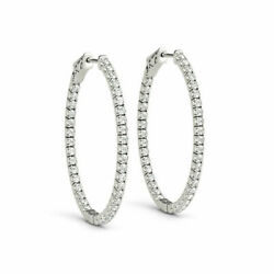 1.48 Ct Round Cut Genuine Diamond Studs 14k Solid White Gold Earrings