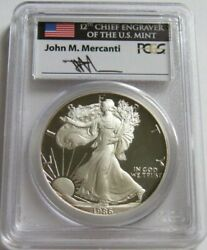 1986-s Pcgs Pr69 Proof American Silver Eagle Coin Hand-signed By John Mercanti
