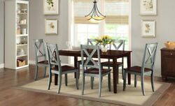 Rustic 7 Pc Dining Table Set Farmhouse Country Kitchen Wood Chairs Sage Brown