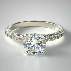 Natural Diamond Engagement Rings 1.12 Carat 14k Solid White Gold Size 5 6 7 8 9