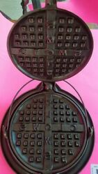 Rare Vintage Cast Iron No.8 Griswold Clows Waffle Iron, 234, 235, Restored