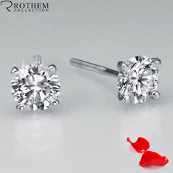 1.17 Ct Solitaire Diamond Earrings Women White Gold Si1 Msrp 7700 32351369