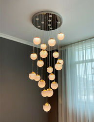 Crystal Ball Chandelier Bubble Glass Ball Pendant Lamps Hanging Stair Light Deco