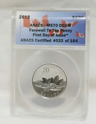 2012 Canada Silver 20 Coin Farewell To The Penny Anacs Ms70 Dcam First Day Issu