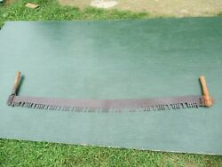 Nice Vintage Crosscut Saw Tool + 59 Long Blade Has Two Wooden Handle
