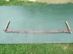 Nice Antique Crosscut Saw Tool + 61 Long Blade Two Wooden Handle