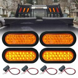 4x 6 Inch Oval Amber 24 Led Sealed Turn Signal Tail Light Grommet Truck Trailer