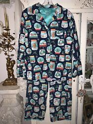 Nick And Nora Pajama Set Christmas Snow Globes Size Medium Flannel Top And Bottoms