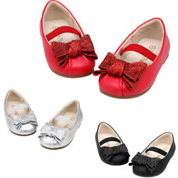 Kids Baby Infants Girls Satin Bow Wedding Party Patent Toodler Shoes Size Silver