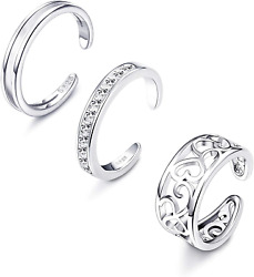 3pc 925 Sterling Silver Toe Rings For Women Platinum Plated Adjustable Open Cuff