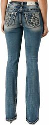 Miss Me Women's Mid-rise Geometric Floral Embroidery Bootcut Jeans