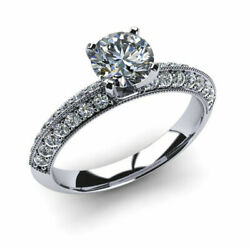 0.90 Ct Round Cut Real Diamond Engagement Ring 14k Solid White Gold Size 5.5 6 7