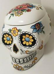 Large Day Of The Dead Mexican Skull Art Sugar Skull Cookie Jar Halloween 🎃