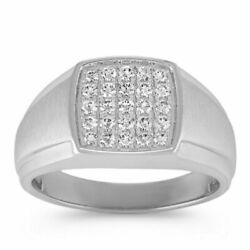0.50 Ct Round Christmas Genuine Diamond Menand039s Bands 14k White Gold Size 10 11 12