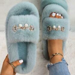 Women Faux Fur Fluffy Slippers Pearl Decorate Bedroom Sandals Wear-resistant New