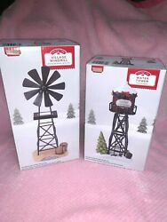 New 2 Lot 8.25 Windmill And 6 1/2 Water Tower Christmas Village Accessories 2020