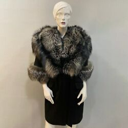 Fashion Cashmere Coat With Real Fox Fur Hat Winter Women Half Sleeve Overcoat