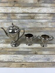 Set Of 3 Key Stoneware Silver Plated On Copper Teapot Creamer Pot And Sugar Bowl