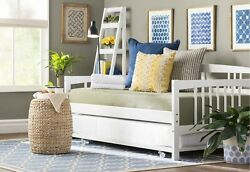 2 Piece White Wood Twin Daybed and Metal Trundle Set Home Bedroom Dorm Furniture