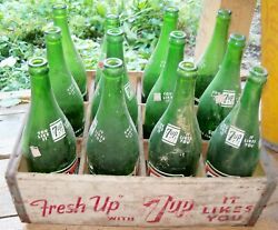Vintage 1970s Seven Up Soda Green Glass 1 Pint Bottles And Wood Advertising Crate