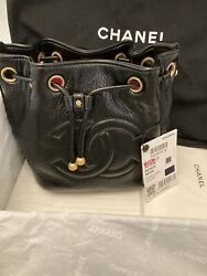 AUTHENTIC CHANEL 2020A Black Bucket Drawstring Bag Gold Hardware $3400.00