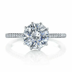 1.50ct Round Cut Real Diamond 14k Solid White Gold Engagement Rings Size 6 7