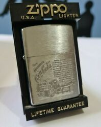Zippo Windproof Collectible Brushed Chrome Lighter Coca Cola Wagon 1995 New
