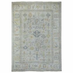 9and0399x13and0396 Organic Wool Hand Knotted Gray Angora Oushak Oriental Rug G69028