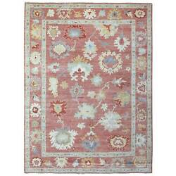 9'x11'5 Angora Oushak Soft Wool Hand Knotted Coral Color Oriental Rug G69251