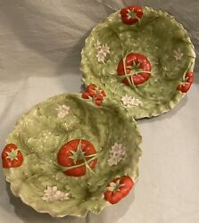Pair Of Antique Royal Bayreuth Bavaria Scalloped Tomato Bowl 9.25 Inches