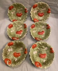 Rare 6 Royal Bayreuth Tomato And Lettuce Small Round Berry Bowls
