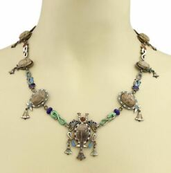 Antique Multi Wood And Enamel Scarabs Snake Silver Necklace