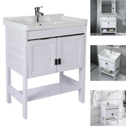 Bathroom Vanity And Sink Combo White With Faucet And Landing Bathroom Cabinet