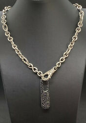 John Hardy 925 Sterling Silver Chain With Black Sapphire Drop Pendant - Unique